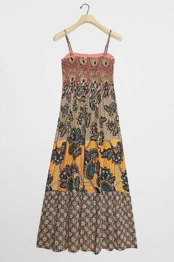 ANTHROPOLOGIE Amalita Smock Maxi Dress / skinny strap multi print dresses - flipped