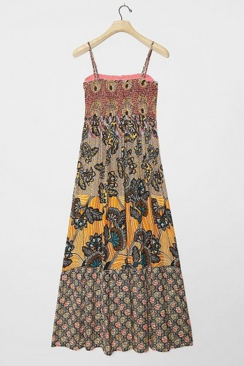 ANTHROPOLOGIE Amalita Smock Maxi Dress / skinny strap multi print dresses