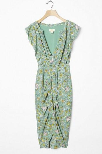 Maeve Blossom Ruffled Mini Dress / green wrap-effect dresses - flipped