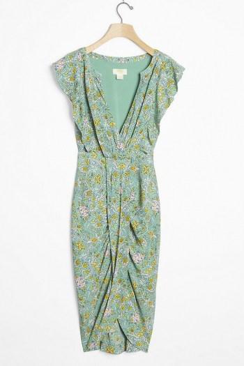 Maeve Blossom Ruffled Mini Dress / green wrap-effect dresses