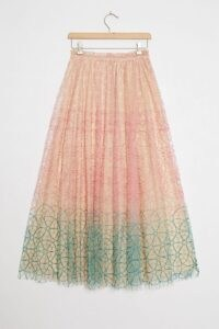 Geisha Designs Three-Tone Embroidered Skirt ~ mesh overlay skirts