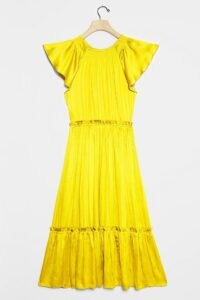 Current Air Dodie Flutter-Sleeved Midi Dress ~ yellow tiered dresses