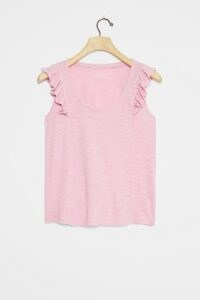 Pilcro Ruffled Tank Top Mauve ~ frilled detail cotton tops