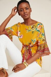 Vineet Bahl Darlene Blouse / yellow tie front blouses
