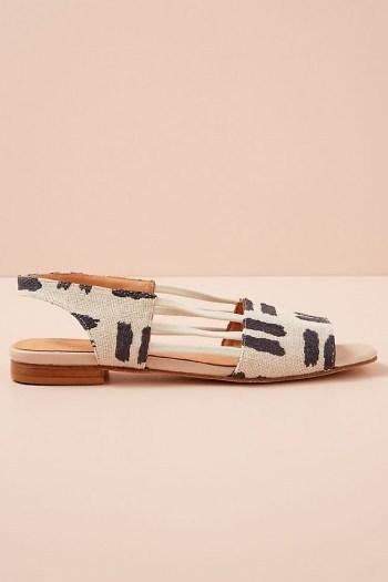 Naguisa Ximena Slingback Flats / navy and white peep toe slingbacks - flipped