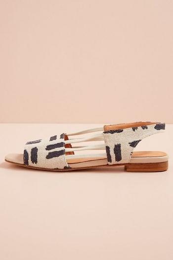 Naguisa Ximena Slingback Flats / navy and white peep toe slingbacks