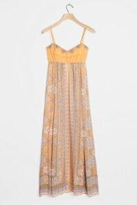 Anthropologie Calida Maxi Dress / strappy orange prinred dresses