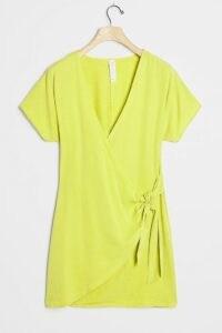 Amadi Miena Mini Dress Chartreuse / bright wrap dresses