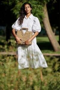 Amadi Cordelia Tiered Midi Shirtdress / white voluminous shirt dresses