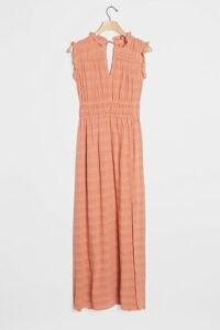ANTHROPOLOGIE Philipa Maxi Dress / pink shirred waist dresses