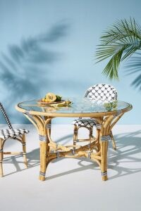 Tracey Boyd Rattan Indoor/Outdoor Bistro Table ~ round garden tables