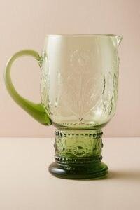 ANTHROPOLOGIE Sunflower Pitcher ~ green glass pitchers
