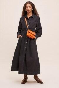Selected Femme Ally Denim Shirt Dress Black ~ A-line button up dresses