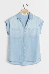 Cloth & Stone Tasha Chambray Buttondown Blue ~ short sleeve lightweight denim shirts ~ layering tops