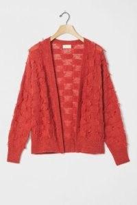 Maeve Janis Fringed Cardigan Crimson ~ red textured cardigans