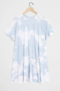 Current Air Luna Tie-Dye Tunic Dress in Sky / blue tiered dresses