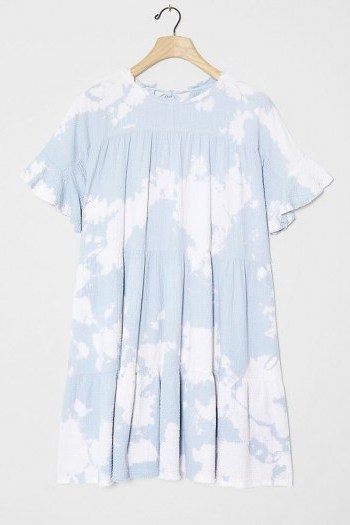 Current Air Luna Tie-Dye Tunic Dress in Sky / blue tiered dresses - flipped
