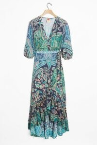 Farm Rio Amorina Wrap Maxi Dress / mixed print dresses / ruffle hemlines