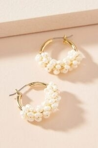 ANTHROPOLOGIE Cara Pearl Huggie Hoop Earrings / huggies / pearls
