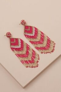 ANTHROPOLOGIE Beaded Drop Earrings Pink / fringed drops