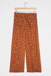 Maeve Isobel Pleated Wide-Leg Trousers / polka dot pants