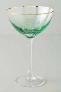 Green champagne glass ~ Set of 4 Vita Coupe Glasses