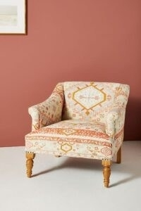 Rug-Printed Sally Accent Chair Orange Motif ~ textured fabric armchair ~ printed armchairs