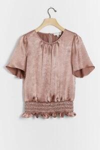 Ro & De Kipp Shimmer Blouse / smocked waist blouses