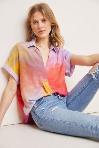 Bl-nk Carmel Tie-Dyed Blouse Purple Motif / multicoloured short sleeve top