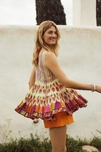 Lorelai Swing Blouse | Anthropologie / sleeveless multicoloued pleated hem top / tops with swish