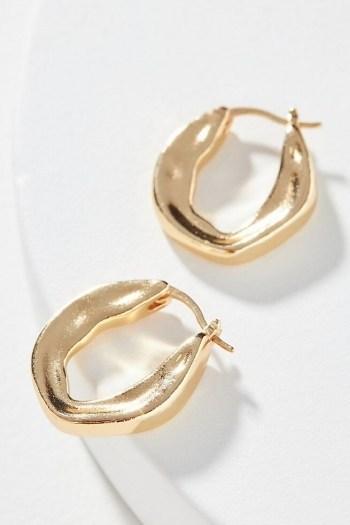 Gilda Huggie Hoop Earrings | Anthropologie / sculpted huggies - flipped