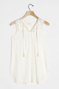 Anthropologie Emily Embroidered Tunic / sleeveless curved hem top