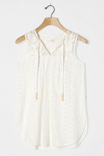 Anthropologie Emily Embroidered Tunic / sleeveless curved hem top - flipped