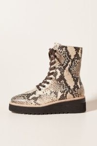Silent D Lace-Up Platform Boots Neutral Motif / reptile print boot
