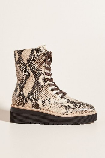 Silent D Lace-Up Platform Boots Neutral Motif / reptile print boot - flipped