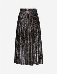 BA&SH Prisca metallic woven midi skirt | pleated skirts