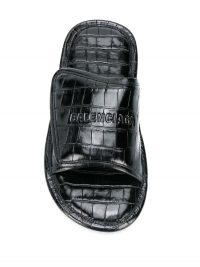 Balenciaga Home sandals | black leather croc embossed slides