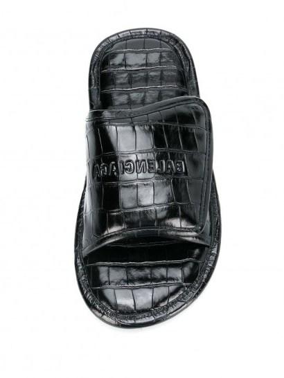 Balenciaga Home sandals   black leather croc embossed slides - flipped