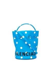 Balenciaga Wheel XS drawstring bucket bag / small blue and white dot handbags