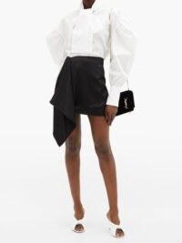 ELZINGA Balloon-sleeve cotton-poplin shirt ~ white exaggerated sleeve shirts