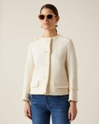 JIGSAW BASKET TWEED JACKET / ivory boucle jackets