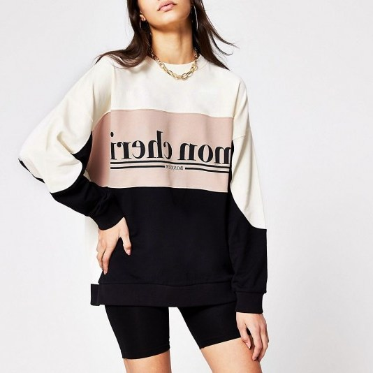 RIVER ISLAND Beige printed 'mon cheri' colour block sweat / French slogan sweatshirt - flipped