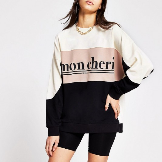 RIVER ISLAND Beige printed 'mon cheri' colour block sweat / French slogan sweatshirt