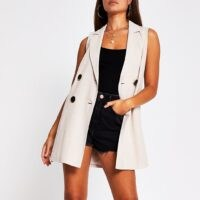 RIVER ISLAND Beige sleeveless button up blazer ~ longline blazers