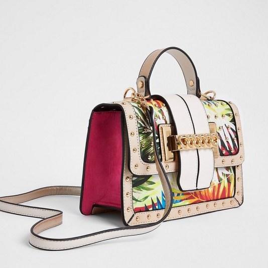 River Island Beige tropical print satchel | printed satchels | top handle bags - flipped