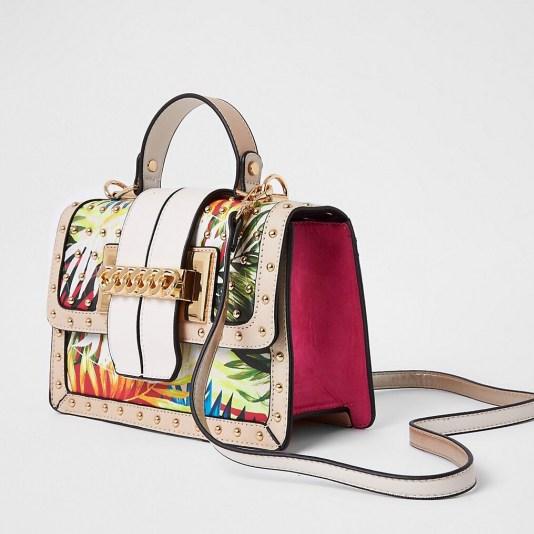 River Island Beige tropical print satchel | printed satchels | top handle bags
