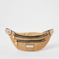 RIVER ISLAND Beige weave zip front bumbag ~ double zipper fanny pack