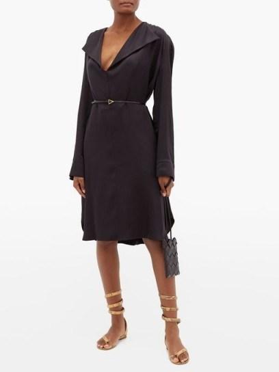 BOTTEGA VENETA Belted wide-lapel silk-satin dress | LBD - flipped