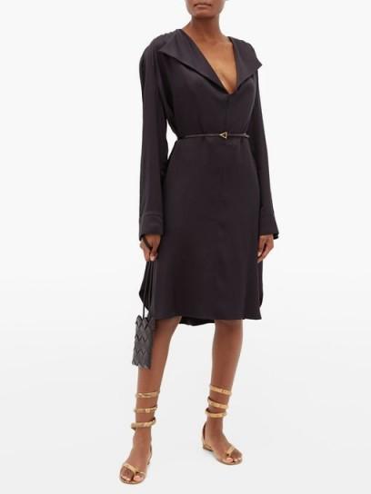 BOTTEGA VENETA Belted wide-lapel silk-satin dress | LBD