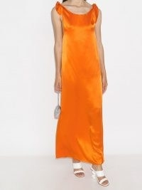 Bernadette draped maxi dress / long orange evening dresses